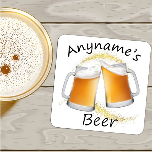 Personalised Any Name's BEER Drinks Coaster N29 - Birthday, Christmas, Fathers Day Gift